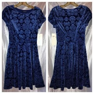 Doe&Rae Blue Floral Print Velvet Corset Back Dress